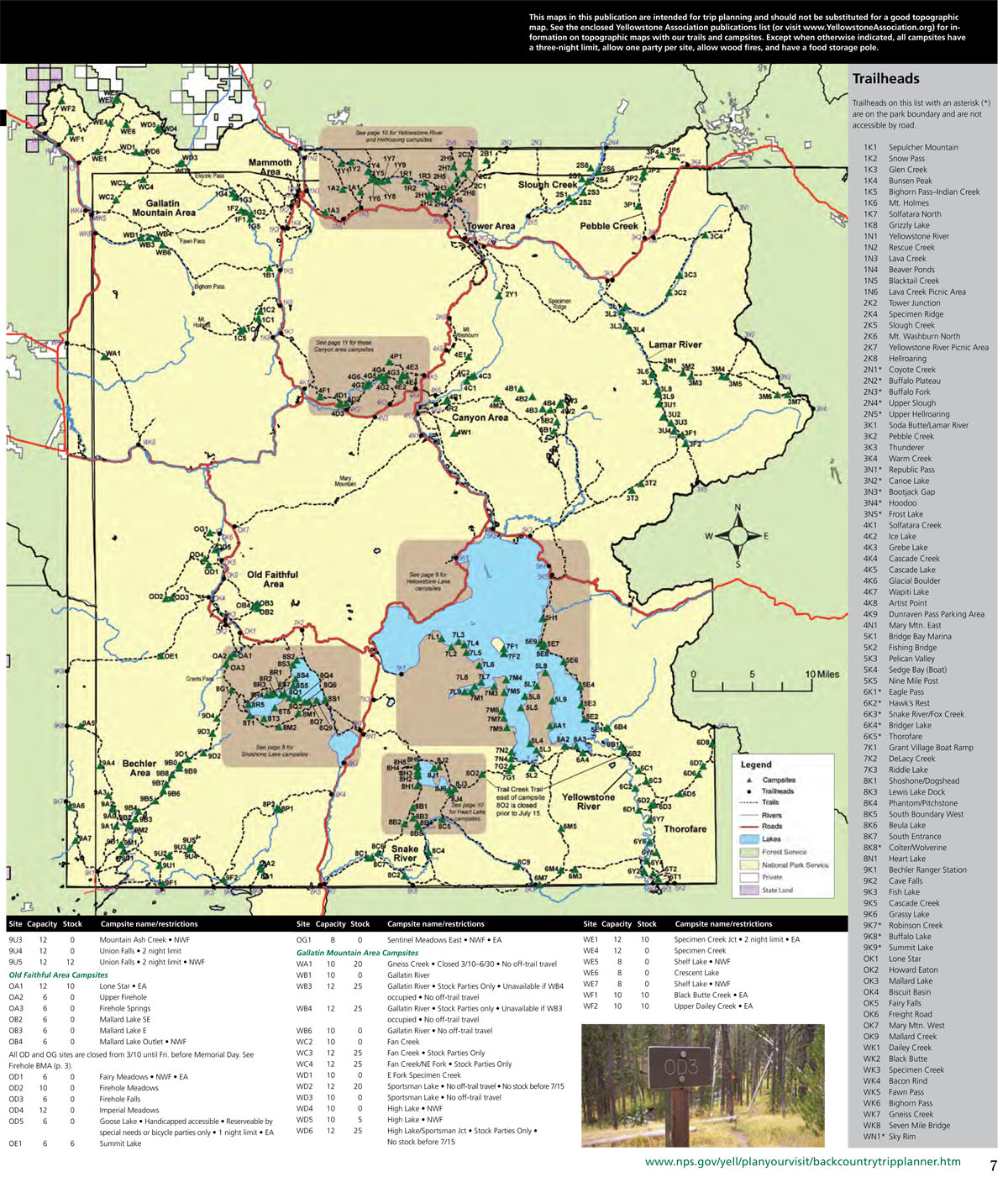 Backcountry Campsite Map of Yellowstone National Park