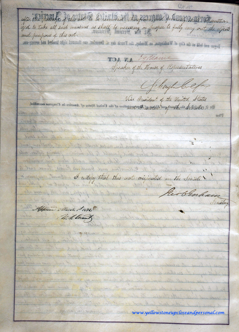 Yellowstone Congressional History - Actual Copy of Signed Senate Bill S.392 - March 01, 1872 - Page Two