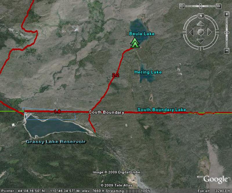 Beula Lake Satellite Trail Map by GoogleEarth - Yellowstone National Park