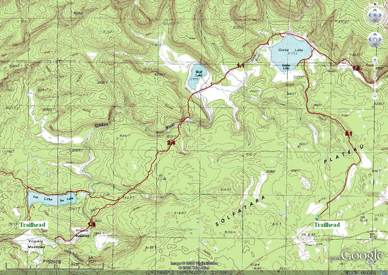 Ice Lake to Grebe Lake Topo Map by GoogleEarth - Yellowstone National Park