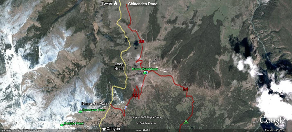 Mount Washburn Trail Map by GoogleEarth - Yellowstone National Park