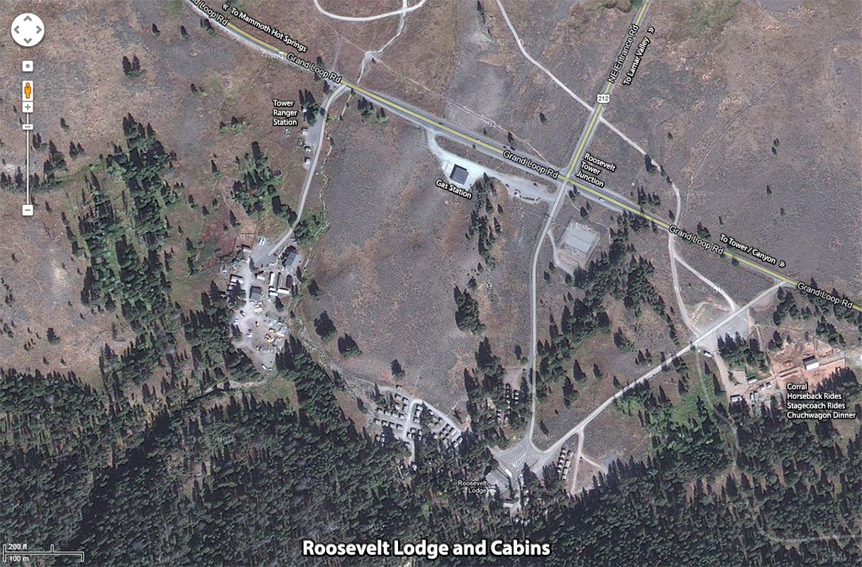 Roosevelt Lodge Lodging Google Map ~ Yellowstone National Park