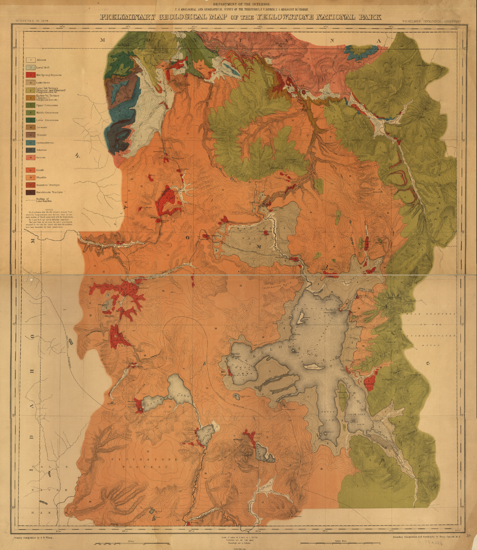 Yellowstone National Park 1878 Survey Map from the Library of Congress Collection