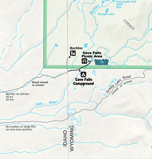 Bechler, Cave Falls Campground and Picnic Map ~ the Southwest Corner of Yellowstone National Park