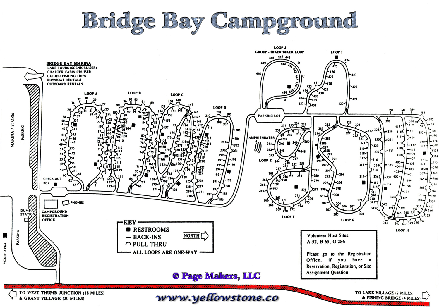 Bridge Bay Campground Map Yellowstone National Park © Page Makers, LLC