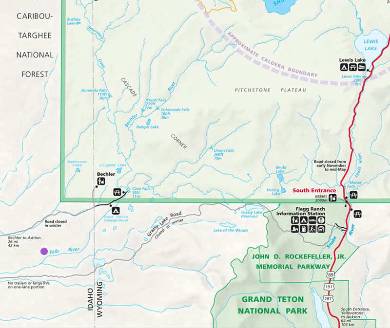 Falls River Map - Yellowstone National Park ~ NPS Map