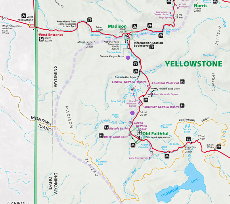 Firehole River Map - Yellowstone National Park ~ NPS Map