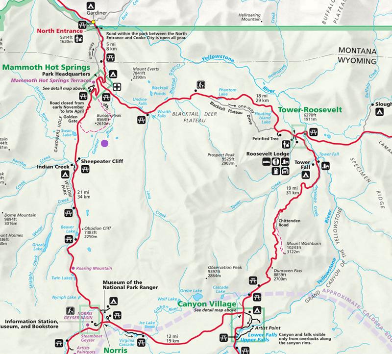 Gardner River Map - Yellowstone National Park ~ NPS Map