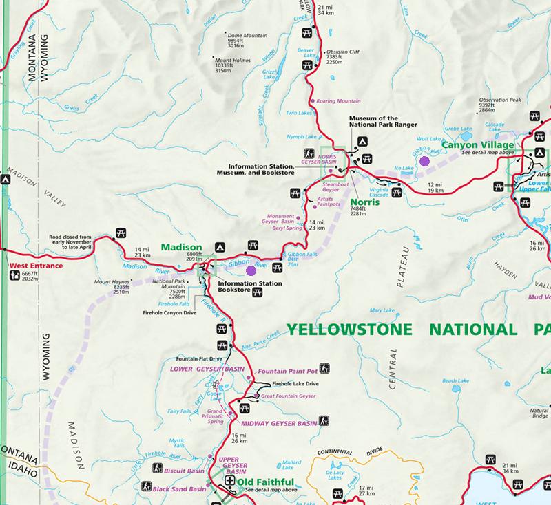 Gibbon River Map - Yellowstone National Park ~ NPS Map
