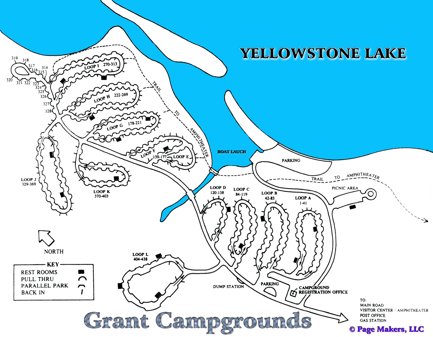 Map Of Yellowstone Campgrounds Grant Campground Map, Pictures and Video Yellowstone National Park  Map Of Yellowstone Campgrounds