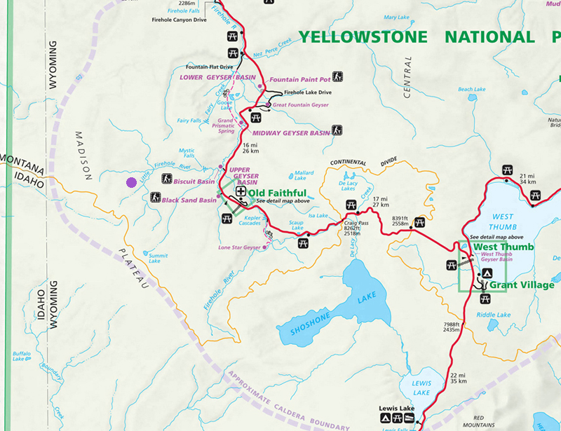 Little Firehole River Map - Yellowstone National Park ~ NPS Map