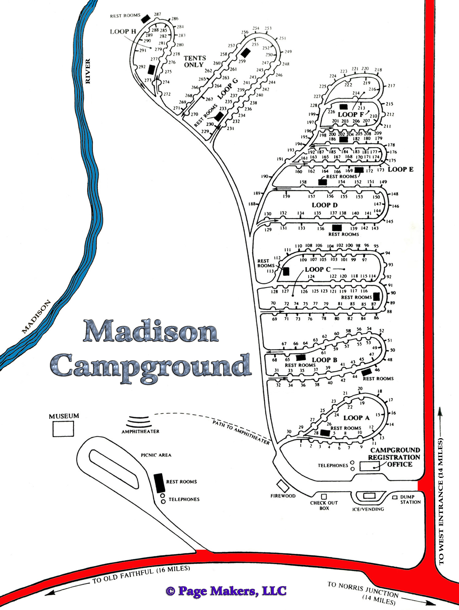 Madison Campground Map, Pictures and Video Yellowstone National Park on yosemite rv parks map, cody wyoming rv parks map, black hills rv parks map,
