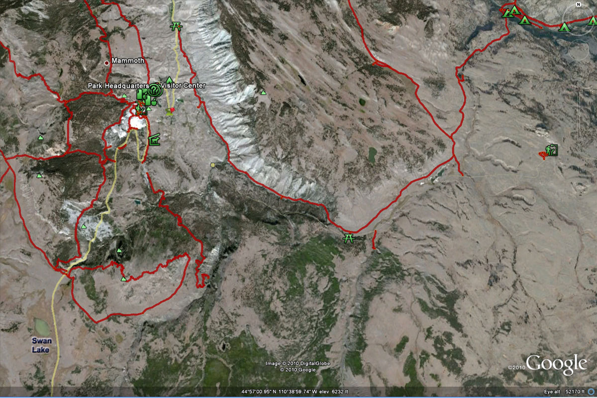 Swan Lake Map - Yellowstone National Park ~ From Google Maps © Copyright All Rights Reserved