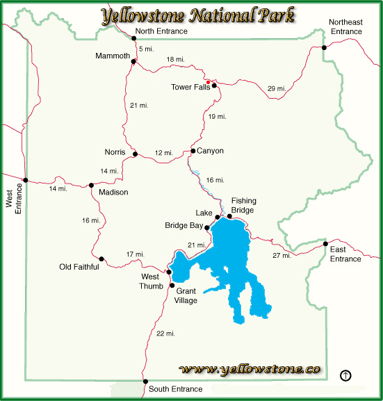 Tower Ranger Station Location Map - Yellowstone National Park