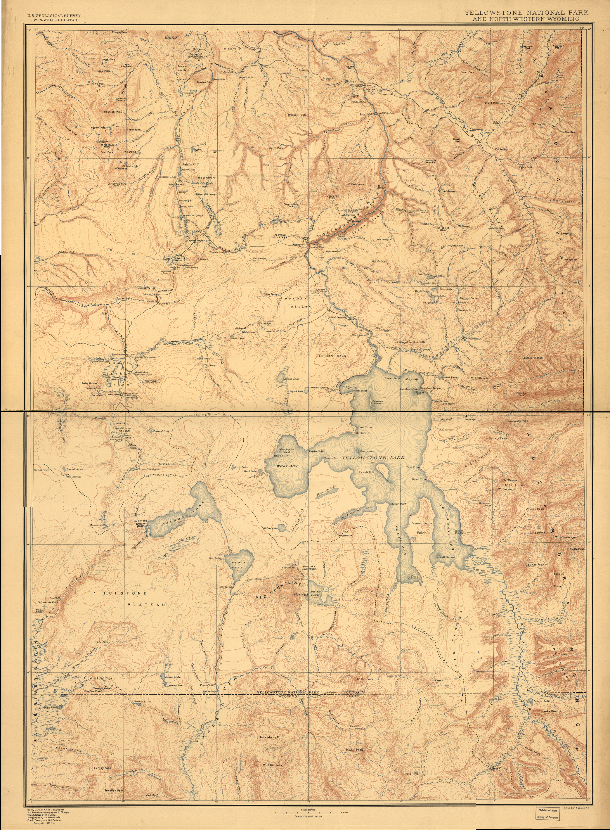 Yellowstone National Park 1883 Survey Map from the Library of Congress Collection