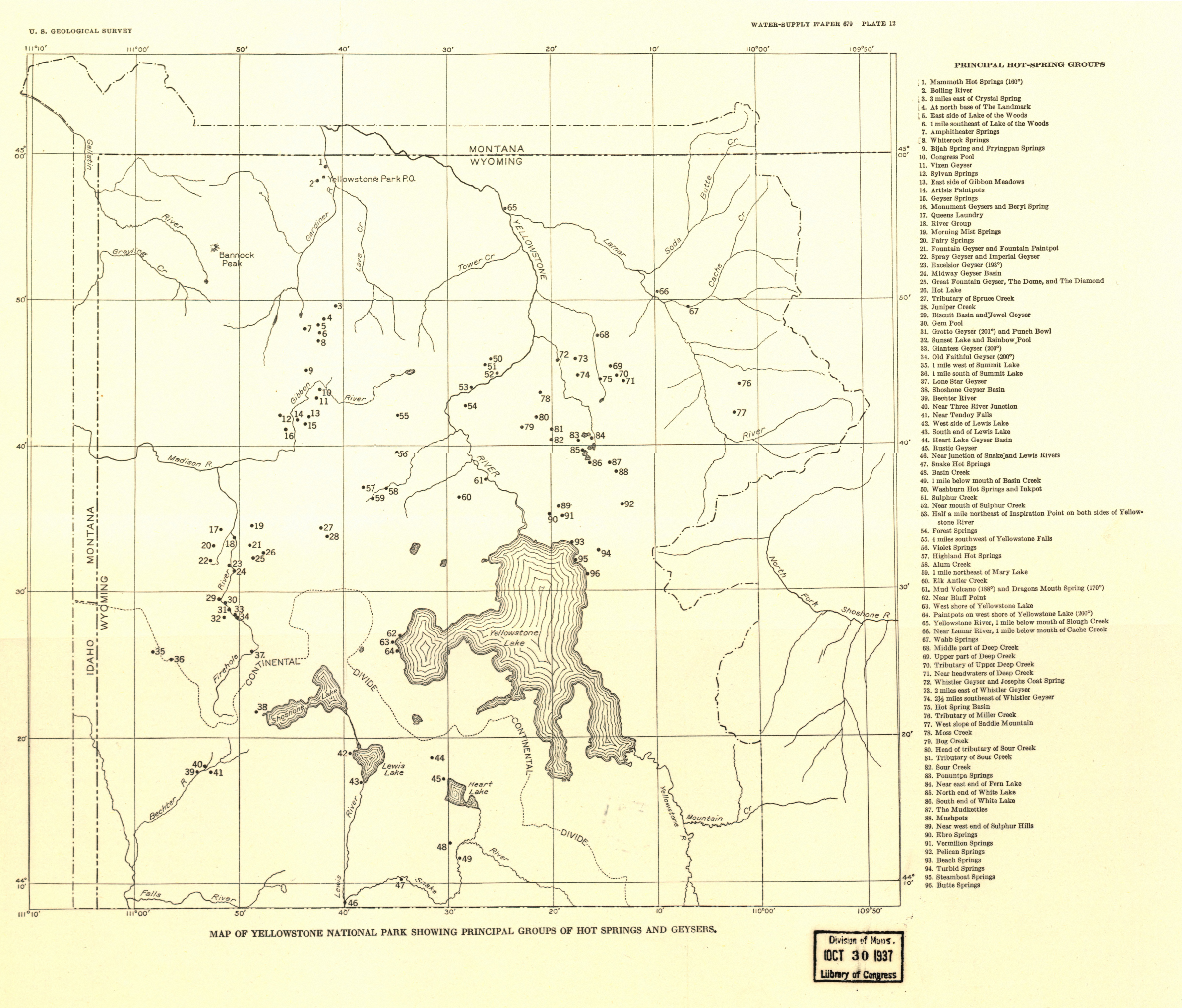 Yellowstone National Park Water Supply Map from the Library of Congress Collection