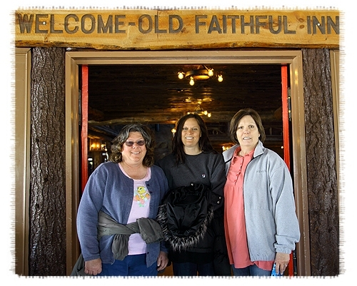Carlene, Tamra and Dawn at the door of the Old Faithful Inn by John William Uhler Copyright © All Rights Reserved