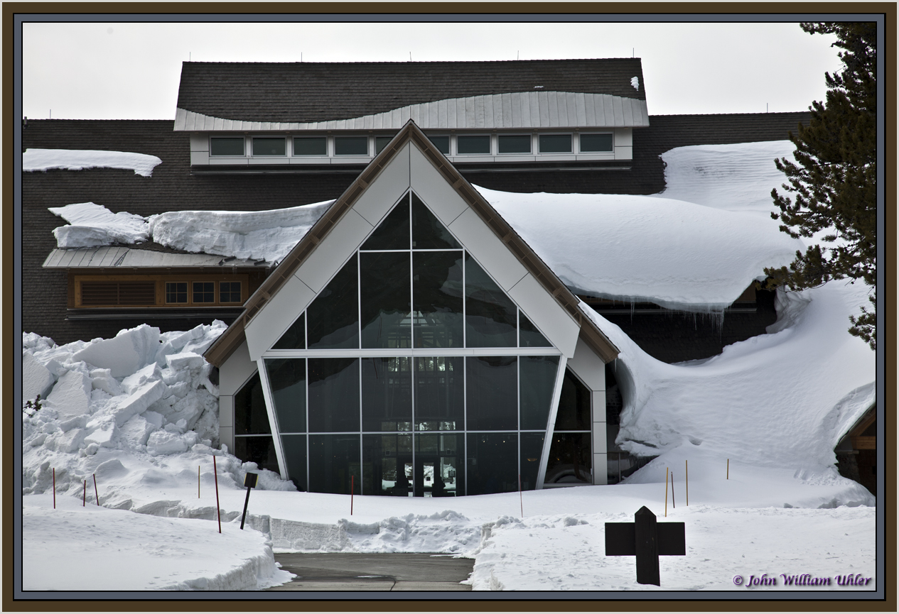 Old Faithful Visitor Center in Spring by John William Uhler Copyright © All Rights Reserved