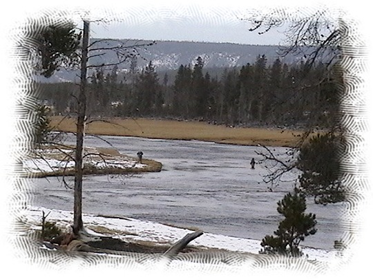 Folks fly fishing on the Fire Hole River by John William Uhler ©
