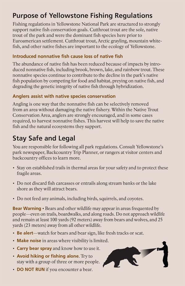 Yellowstone Fishing Regulations Page 2 - NPS Image
