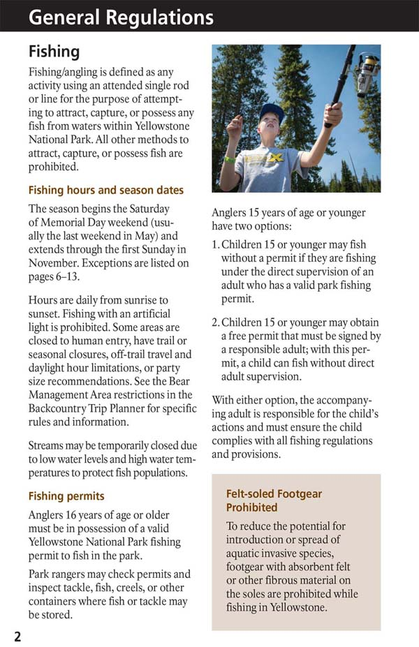 Yellowstone Fishing Regulations Page 4 - NPS Image