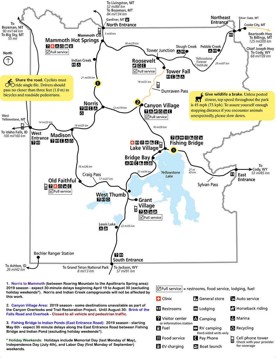 Map Of America Yellowstone National Park.Yellowstone National Park Road Information Yellowstone Up Close